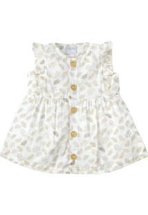 Vestido Sem Manga - Linho - 100% Algodão - Branco - Tilly Baby - Gg