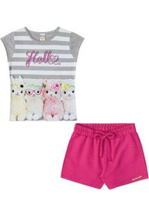 Conjunto Infantil Baby Look E Shorts Hello Boca Grande Feminino - Feminino-Cinza+Rosa