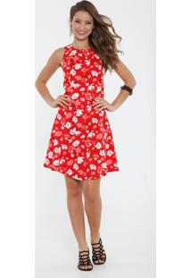 Vestido Feminino High Neck Estampa Floral Marisa