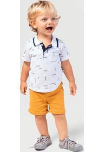 Conjunto Menino Com Blusa Polo E Bermuda De Sarja Hering Kids