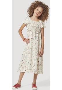 Vestido Midi Infantil Estampado Com Latex Hering Kids