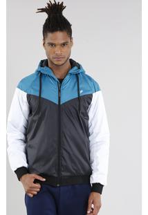 Jaqueta Masculina Esportiva Ace Com Capuz E Recortes Preta