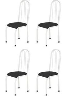 Kit 4 Cadeiras Altas 0.112 Anatômica Branco/Preto - Marcheli