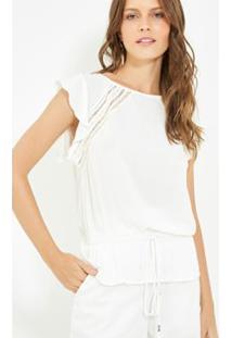 Blusa Bata Ateen Top - Feminino-Off White