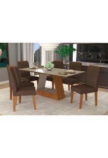 Conjunto De Mesa De Jantar Retangular Alana Com 6 Cadeiras Nicole Suede Cacau E Off White