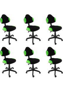 Conjunto 6 Cadeiras De Escritório Secretária Giratória Verona Verde Claro
