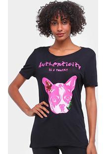 Camiseta Carmim Cachorrinho Manga Curta Feminina - Feminino