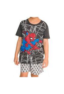 Pijama Infantil Menino Curto Homem Aranha 52.05.0060 Cinza
