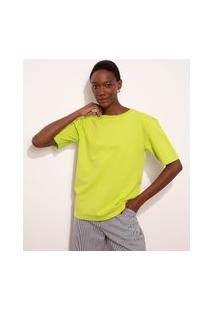 T-Shirt De Moletinho Manga Curta Decote Redondo Mindset Verde