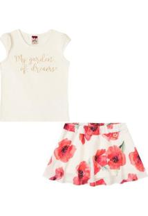 Conjunto Infantil Baby Look E Saia Shorts Boca Grande Feminino - Feminino-Off White