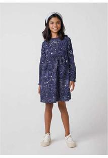 Vestido Infantil Menina Em Viscose Azul