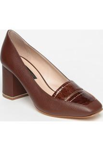Sapato Em Couro Com Recortes- Marrom Escuro- Salto: Jorge Bischoff