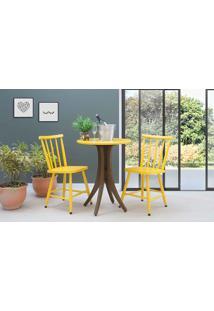 Mesa De Restaurante Redonda Com 2 Cadeiras Juliette - Nogueira E Amarelo