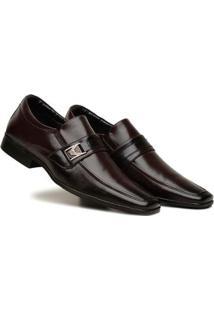 Sapato Social Masculino Elástico Metal Leve Macio Conforto - Masculino-Marrom