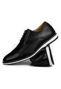 Sapato Oxford Brogue Batta Shoes Couro Texturizado Bico Redondo Preto