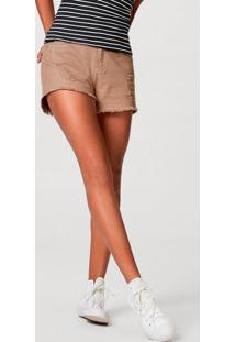 Shorts Feminino Em Sarja Com Destroyed