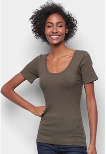 Camiseta Forum Canelada Gola U Feminina - Feminino-Verde