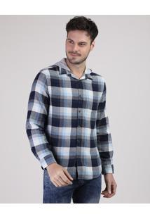 Camisa Masculina Tradicional Estampada Xadrez Manga Longa Com Capuz Azul