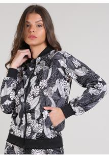 Jaqueta Bomber Feminina Estampada De Folhagem Com Bolso Preta