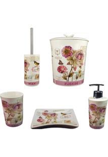 Kit Banheiro Porcelana Porta Sabonete Escova Lixeira Chocolat Lonbart Design 5 Pçs