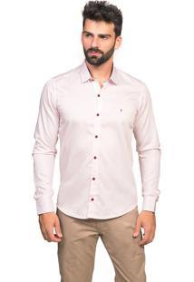 Camisa Slim Fit Tony Menswear Acetinada Com Detalhe Floral Rosa