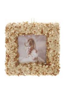 Enfeite P/ Pendurar Árvore Natal Porta Retrato Dourado