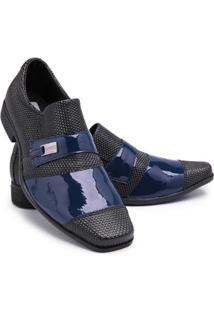 Sapato Social Masculino Bico Quadrado Confortável Verniz - Masculino-Azul