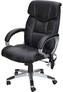 Cadeira Office Cartagena Assento Pu Preto Com Sistema De Massagem E Base Nylon - 45070 - Sun House