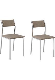 Kit 2 Cadeiras 1709 Camurça Conhaque/Cromado - Carraro Móveis