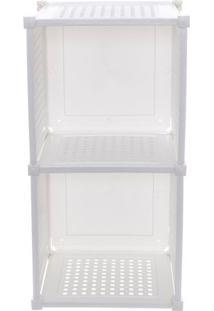 Cubo Duplo Guarda Tudo- Branco- 60X31X28Cm- Metametaltru