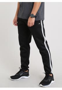 Calça Masculina Esportiva Ace Em Moletom Com Faixas Laterais Preta