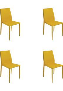Kit 04 Cadeiras Amanda Pvc Amarela Rivatti - Amarelo - Dafiti