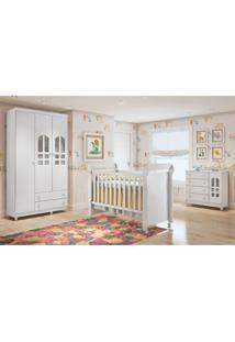 Dormitório Selena Guarda Roupa 3 Portas/Cômoda/Berço Mini Cama Mirelle Branco Carolina Baby