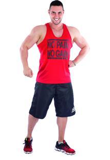 Regata Império Fitness Cavada No Pain No Gain Vermelha
