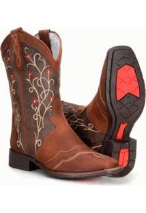 Bota Country Texana Feminina Bordado Em Couro Capelli - Feminino-Marrom Claro