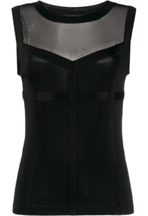 Moschino Camisa Com Recorte Translúcido - Preto