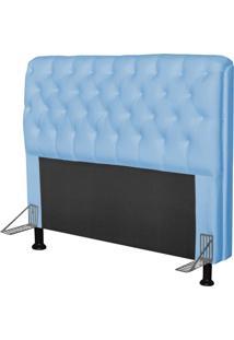 Cabeceira Paris Para Cama Box Casal 140 Cm Paris Corino Azul Bebê - Js Móveis