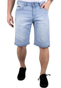 Bermuda Jeans Alfa Doing Bolso Antifurto - Masculino-Azul