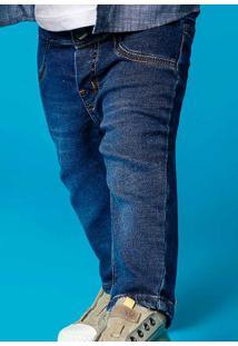 Calça Em Moletom Jeans Bebê Menino Com Lavação Escura Hering Kids e34a6cf64178