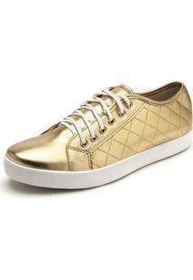 Tênis Dafiti Shoes Matelassê Dourado
