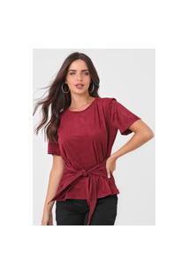 Camiseta Maria Valentina Amarração Veludo Vinho