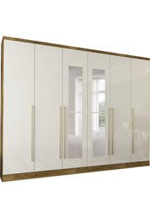 Guarda-Roupa Casal Com Espelho Sevilla 6 Pt Off White E Ipê Rustic