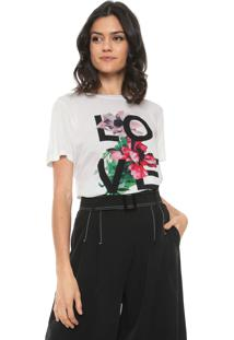 Camiseta Ana Hickmann Love Floral Off White
