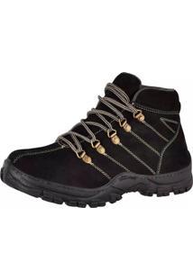 Bota Adventure Masculina Couro Nobuck Difranca Boots - 1010 - Preto
