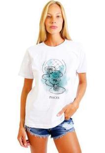 Camiseta Joss Feminina Estampada Signo Pisces - Feminino-Branco