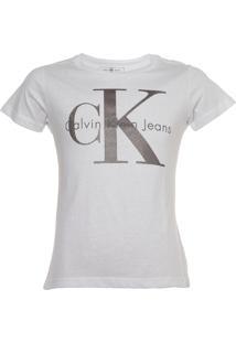 Camiseta Calvin Klein Jeans Foil Infantil Branca