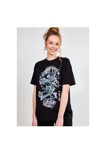Camiseta Oversized Com Dragão