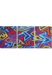 Quadro Painel Decorativo Abstrato Angulos A Mão Multicolor