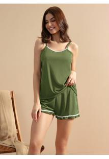 Pijama De Alcinha Com Sianinha Verde Militar