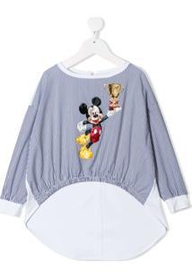 Monnalisa Camisa Listrada 'Mickey Mouse' - Azul